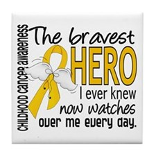 Bravest Hero I Knew Childhood Cancer Tile Coaster