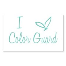 I Love Color Guard in Turquoise Text Decal