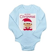 Boys My First Christmas Long Sleeve Baby Bodysuit