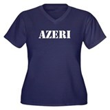 Azeri Women's Plus Size V-Neck Dark T-Shirt