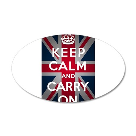 Keep Calm And Carry On 20x12 Oval Wall Decal