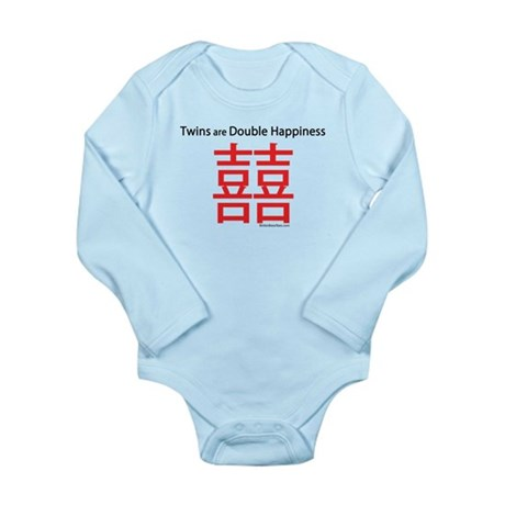 Twins are Double Happiness Long Sleeve Infant Body