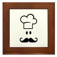 Cook chef hat face Framed Tile
