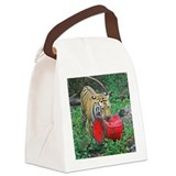 Tiger and Toy Canvas Lunch Bag