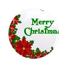 "Merry Christmas Poinsettias 3.5"" Button (100 pack)"