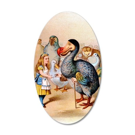 Alice and the Dodo Bird 35x21 Oval Wall Decal