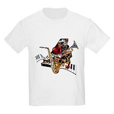 Red Hot Jazz Music Piano Sax Instruments T-Shirt