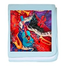 Jazz Supper Club Guitar Curvy Piano baby blanket