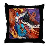 Jazz Supper Club Guitar Curvy Piano Throw Pillow