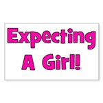 Expecting A Girl! Rectangle Sticker