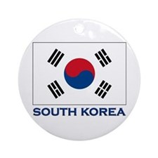 South Korea Flag Stuff Ornament (Round)