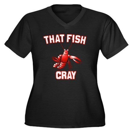 That Fish Cray Womens Plus Size V-Neck Dark T-Shi
