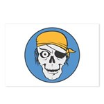 Colored Pirate Skull Postcards (Package of 8)