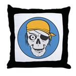 Colored Pirate Skull Throw Pillow