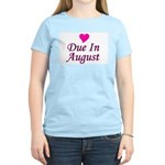 Due In August Women's Pink T-Shirt