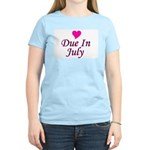 Due In July Women's Pink T-Shirt
