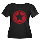 Red Circle Star black shirt Women's Plus Size Scoo