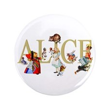 "Alice and Her Friends in Wonderland 3.5"" Button"