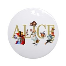 Alice and Her Friends in Wonderland Ornament (Roun