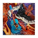 Jazz Music Guitar Piano Scene Tile Coaster