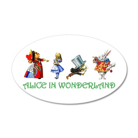 Alice and Her Friends in Wonderland 35x21 Oval Wal