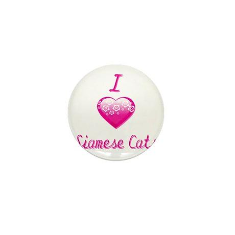 I Love/Heart Siamese Cats Mini Button (10 pack)