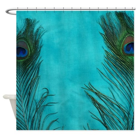 Aqua Blue Peacock Feathers Shower Curtain By Christyoliver