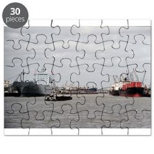 Puzzle: Tugboat With Barge And Cargo Vessels