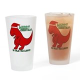 merry christmas cute dinosaur Drinking Glass