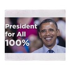 Obama: President for All 100% Throw Blanket