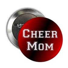 Black and Red Cheer Mom Button