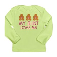 Aunt Loves Me Gingerbread Long Sleeve Infant T-Shi