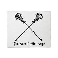 Personalized Lacrosse Sticks Throw Blanket