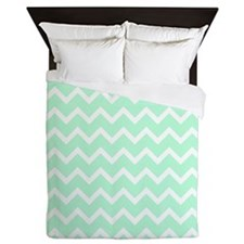Mint Green Zigzags. Queen Duvet