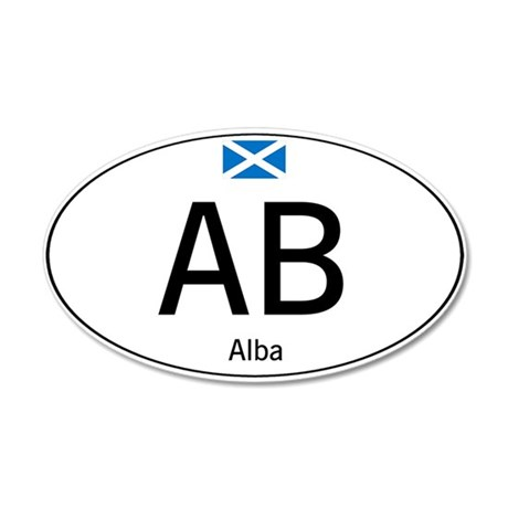 Car code Scotland - White 20x12 Oval Wall Decal
