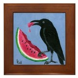Crow & Watermelon Framed Tile