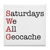 Saturdays we all geocache Tile Coaster