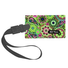 trendy flowers with name green Luggage Tag