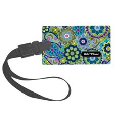 trendy flowers with name blue Luggage Tag