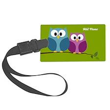 cute owls on branch green Luggage Tag