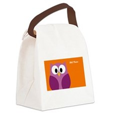cute owls on branch name Canvas Lunch Bag