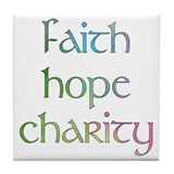 Faith Hope Charity watercolor Tile Coaster