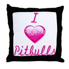 I Love/Heart Pitbulls Throw Pillow