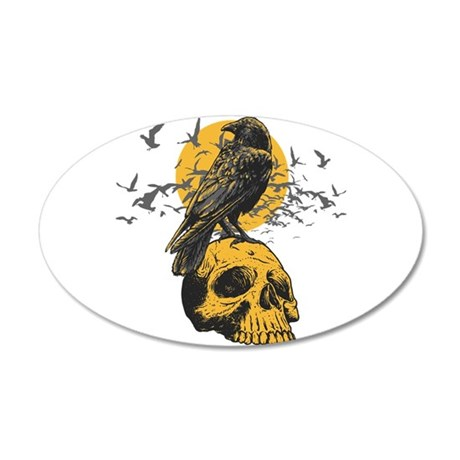 Skull and Crow 35x21 Oval Wall Decal