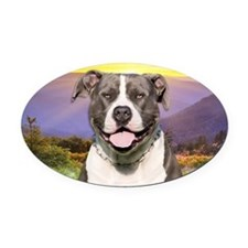Pit Bull Meadow Oval Car Magnet
