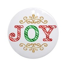 Candy Striped JOY Ornament (Round)