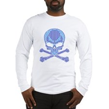 Blue Rhinestone Skull and Crossbones Long Sleeve T