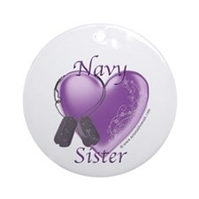 Navy Sister Heart Ornament (Round)