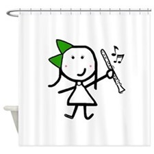 Girl & Clarinet - Green Shower Curtain
