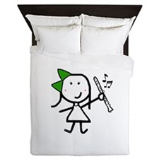 Girl & Clarinet - Green Queen Duvet